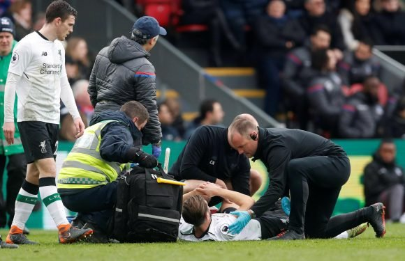 Liverpool blow as Adam Lallana goes off injured just five-minutes after coming on against Crystal Palace with World Cup closing in