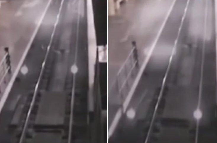 Eerie CCTV footage captures 'ghost train' arriving into railway station in China
