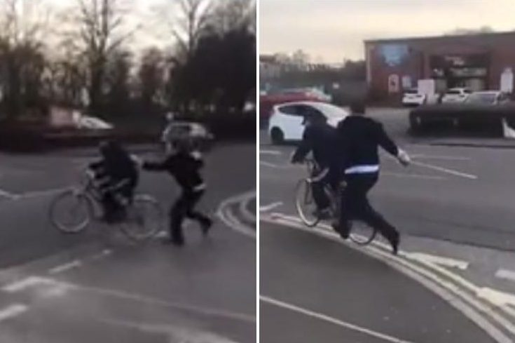 Bizarre footage shows moment 'Lidl worker' repeatedly hits cyclist with leg of pork while chasing him down a street