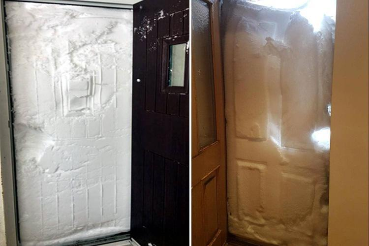 Snowed in Brit families reveal incredible pics of their doors completely blocked by snow