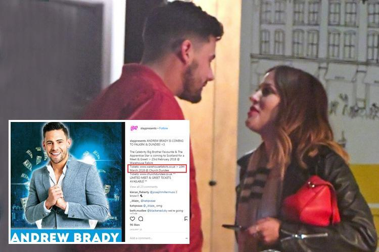 Andrew Brady cancels nightclub appearance after 'cheating' on Caroline Flack at meet and greet