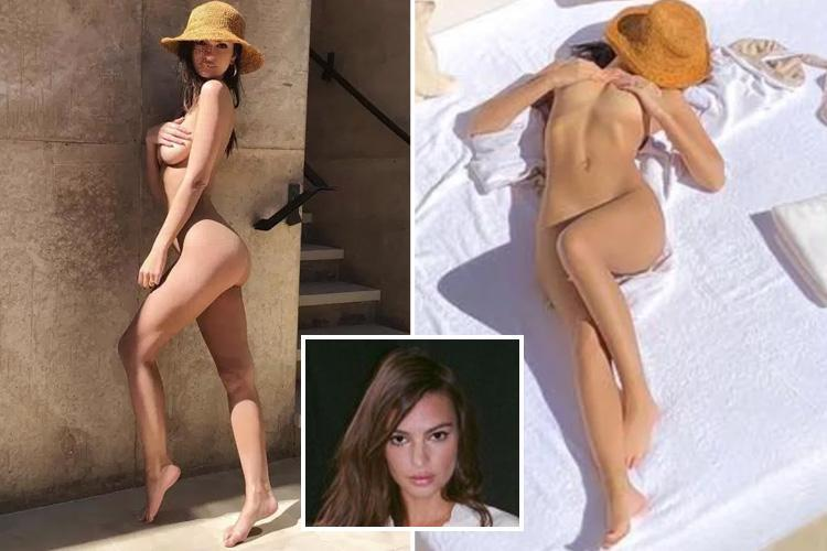 Emily Ratajkowski poses totally naked on holiday with her new husband in sizzling throwbacks