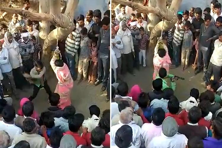 Wife flogged 100 times by husband in front of baying mob who tried to RAPE her unconscious body as punishment for her running off with lover