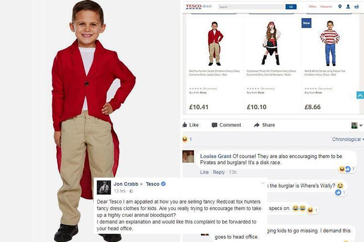 Outrage as Tesco sells 'disgusting' fox hunter costume for children aged 7 – saying blood sport fancy dress is 'fun'