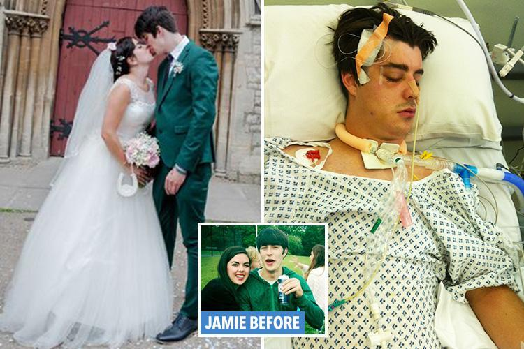 A single punch left this man brain damaged… three years later he walked unaided for the first time to meet his bride at the altar