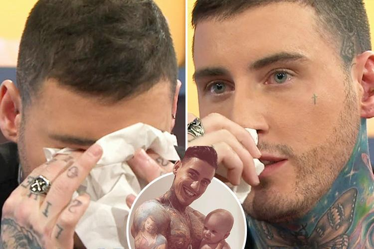 Jeremy McConnell breaks down in tears on Jeremy Kyle Show after host slams him as a 'woman beater' and admitting his dad was 'ashamed' of him before he died