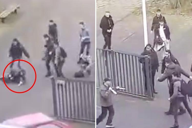 Dramatic moment knifeman wielding two massive blades is chased out of school by students swinging backpacks