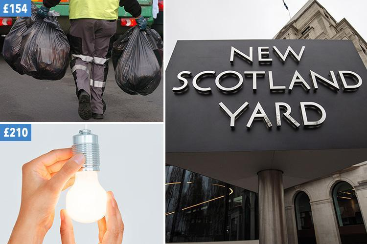 Metropolitan Police paid a private firm £210 to change two light bulbs and £154 to collect just five bin bags, furious staff have claimed
