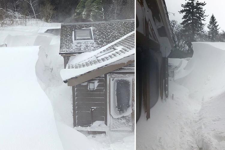 Pensioner couple and their dogs stranded by UK weather dug out by rescuers as their house is buried under 12ft snow drifts in Scotland