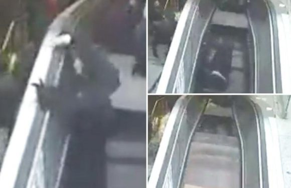 Moment man is SWALLOWED by an escalator after giant hole appears during rush hour in Turkey