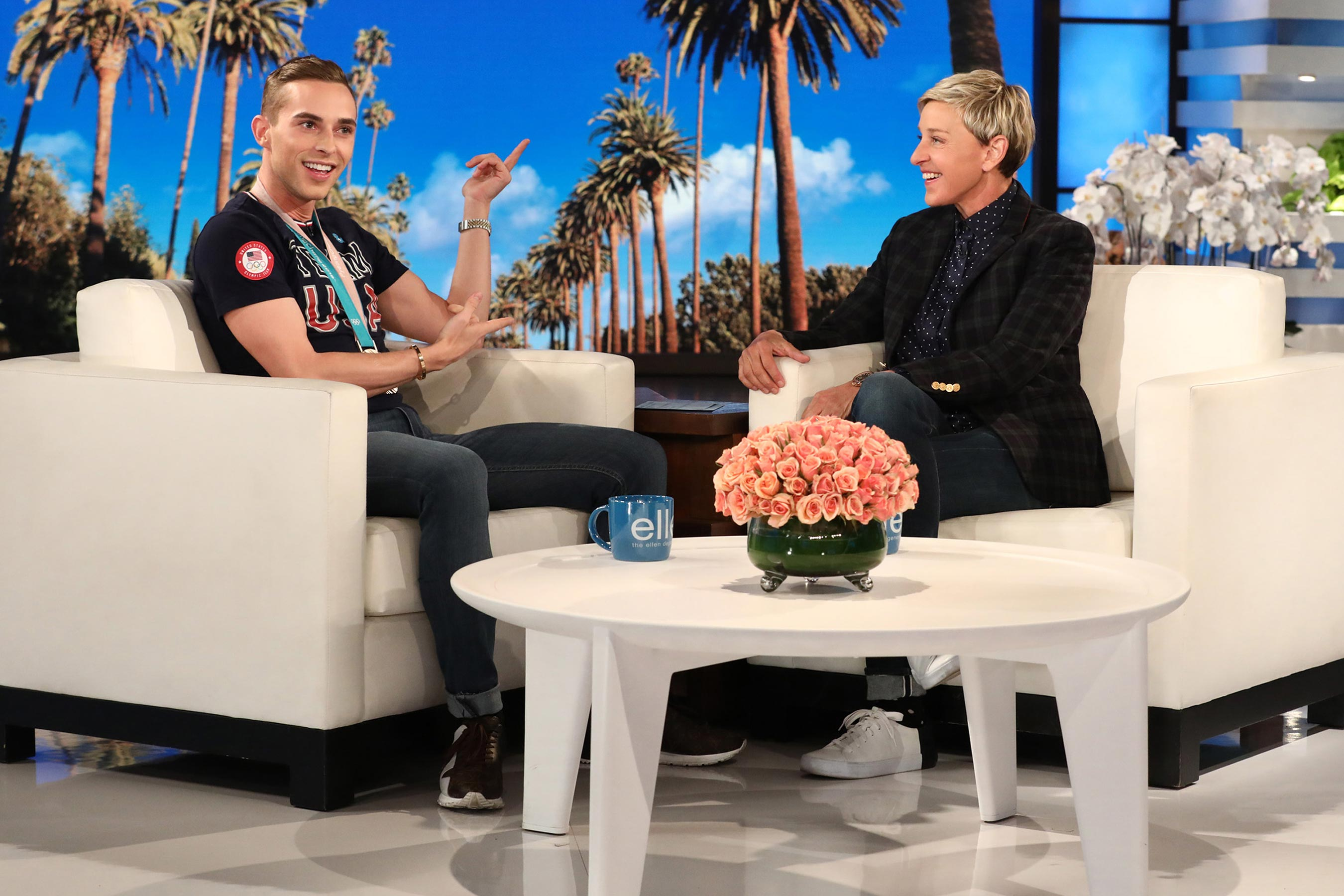 Adam Rippon tells Ellen DeGeneres about Shawn Mendes, Harry Styles crushes