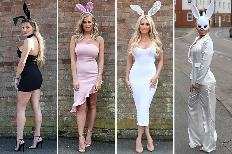 Amber Turner, Chloe Meadows and Chloe Sims dress up as sexy Easter bunnies as cast film Easter special