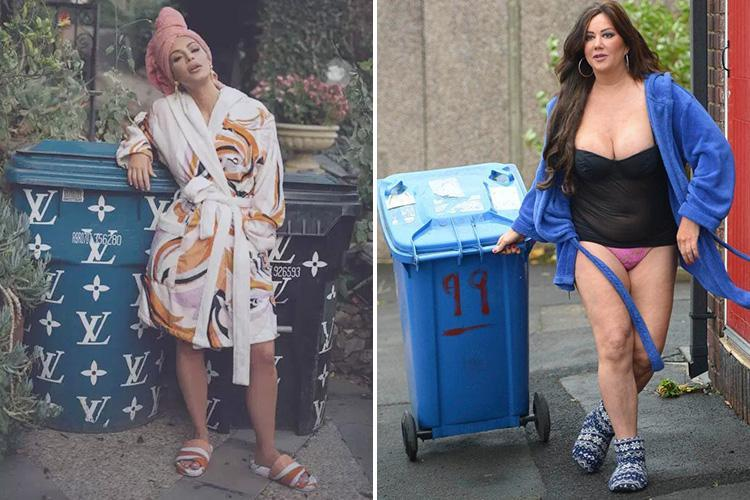 Kim Kardashian 'does a Lisa Appleton' as she takes the bins out in a dressing gown and slippers