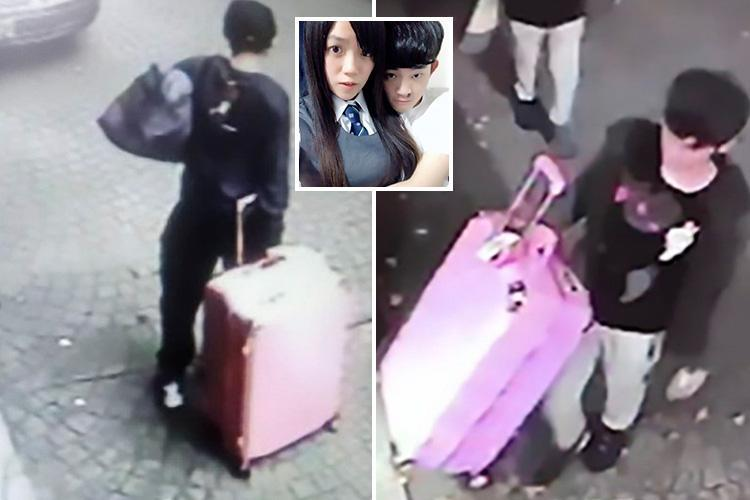 Chilling moment student, 19, drags pink suitcase 'with dead girlfriend's body stuffed inside' out of hotel after 'suffocating her' on Valentine's day trip