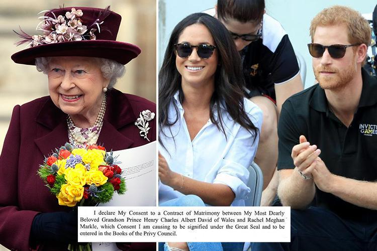 The Queen uses Prince Harry's and Meghan Markle's real name as she gives official consent for Royal Wedding