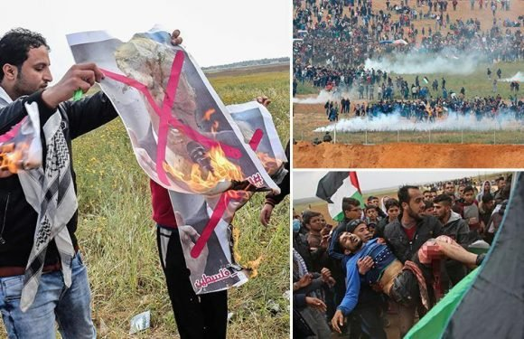 Fifteen killed by Israeli forces and a thousand injured as thousands of Palestinians swarm the border, burn photos of Trump, and vow to protest for six weeks until the US embassy moves to Jerusalem