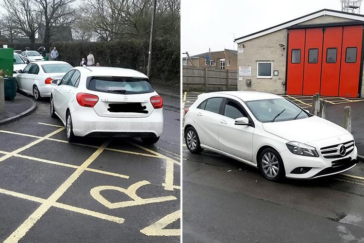Selfish parent refuses to move Mercedes at school pick-up after parking in front of a FIRE STATION