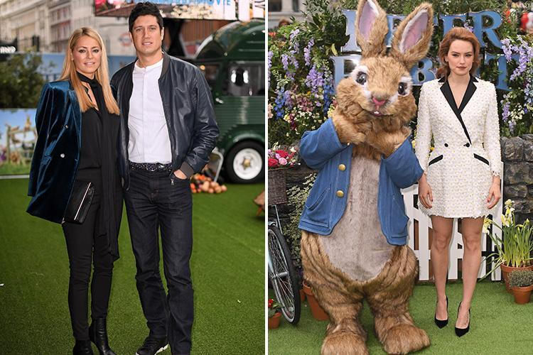 Tess Daly makes rare red carpet appearance with husband Vernon Kay at Peter Rabbit premiere