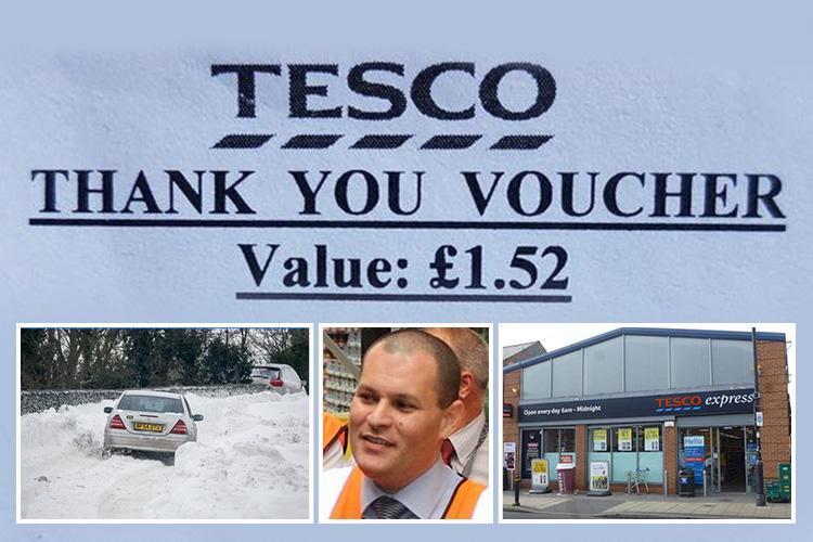 Tesco staff who battled through snow to get to work are 'rewarded' – with £1.52 food voucher