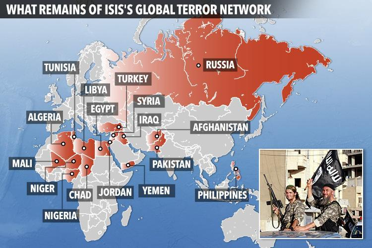What remains of ISIS's global terror network? Map reveals fanatics still have strongholds in 'safe havens' all over the planet
