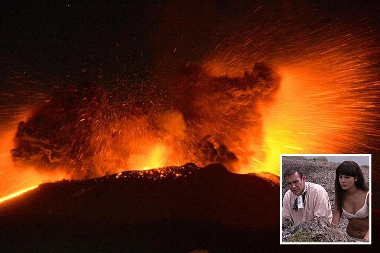 Japanese volcano used in classic 007 movie starring Sean Connery erupts