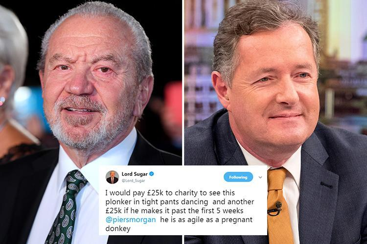 Lord Alan Sugar pledges £50K to charity if frenemy Piers Morgan goes on Strictly Come Dancing after GMB star hinted he'd take part