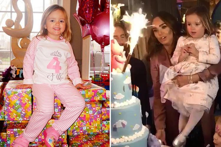 Tamara Ecclestone celebrates daughter Sophia's fourth birthday with DJ, huge pile of presents, and three-tired rainbow cake