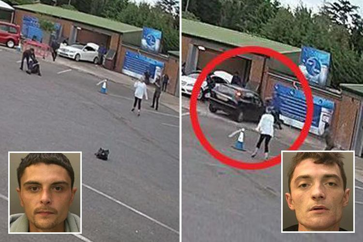 Shocking moment robber ploughs into car wash workers brawling with brother after armed raid goes wrong
