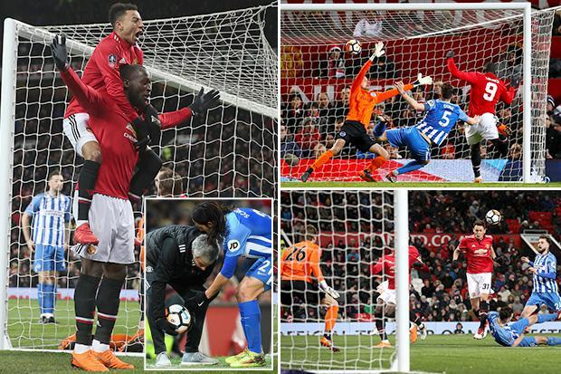Manchester United 2 Brighton 0 match highlights: Nemanja Matic and Romelu Lukaku score in FA Cup quarter-final win to put Champions League shame behind them