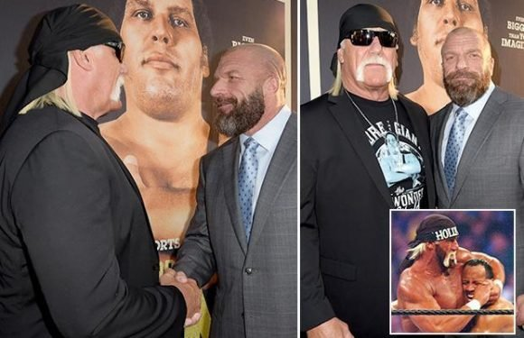 WWE legend Hulk Hogan spotted in talks with chief Triple H just week before WrestleMania 34 sparking return rumours