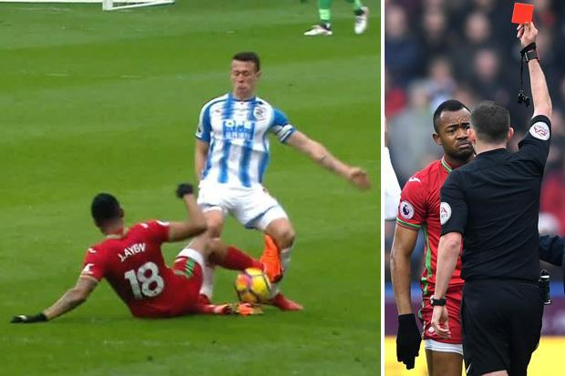 Jordan Ayew sent off for Swansea after horror tackle on Huddersfield ace Jonathan Hogg
