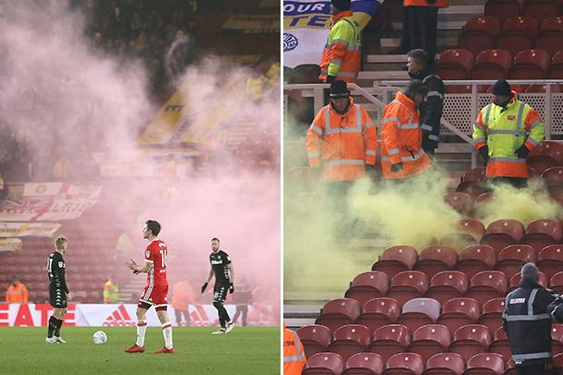 Six arrested after Middlesbrough's 3-0 win over Leeds as flare is set off in the away end