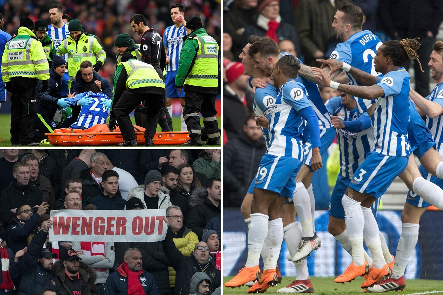 Brighton 2 Arsenal 1: Petr Cech's pair of first-half howlers see Gunners officially fall out of the Premier League title race