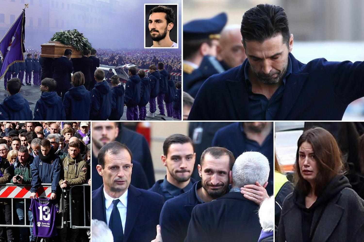 Davide Astori funeral held as mourners turn sky purple in packed square outside service after Fiorentina captain's death aged just 31