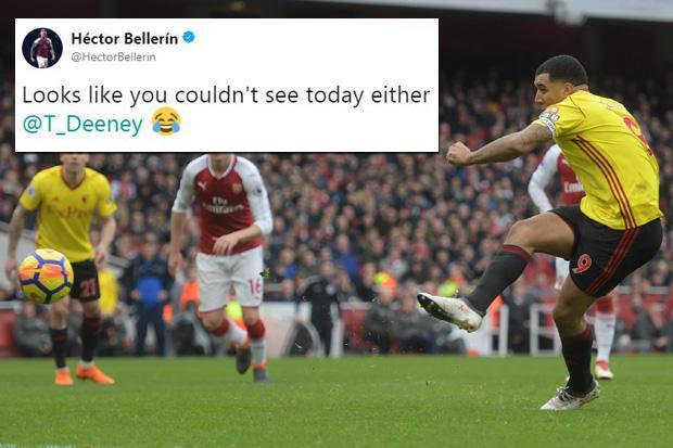Arsenal defender Hector Bellerin trolls Troy Deeney on twitter after penalty miss in Watford defeat at Emirates
