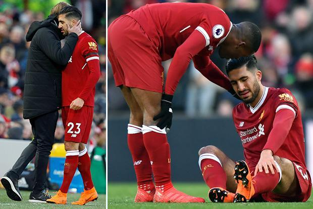 Liverpool star Emre Can injured against Watford and is forced to come off pitch for James Milner