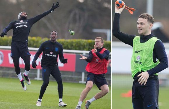 England vs Italy: Three Lions stars fool around with Nerf rockets in fun-filled training session ahead of pre-World Cup clash at Wembley
