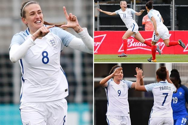 England Women 4 France Women 1: Phil Neville starts life as England boss with a thumping victory as Toni Duggan, Jill Scott, Jodie Taylor and Fran Kirby find net