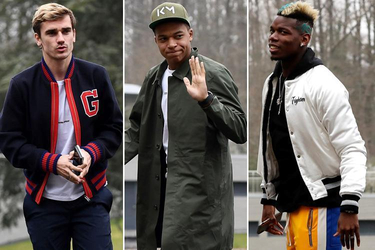 Antoine Griezmann, Paul Pogba and Kylian Mbappe go 90s boy band as France squad meet up ahead of friendlies