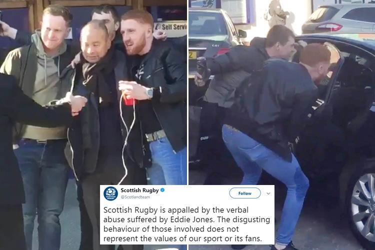 Shocking moment England rugby boss Eddie Jones is subjected to vile abuse from Scotland fans