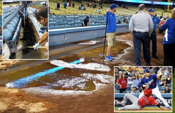 MLB giants LA Dodgers game abandoned after SEWAGE pours onto field into dugout and in stands
