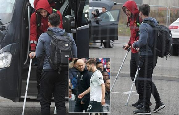 Liverpool star Adam Lallana sparks World Cup KO injury fears as he limps on crutches after Crystal Palace match