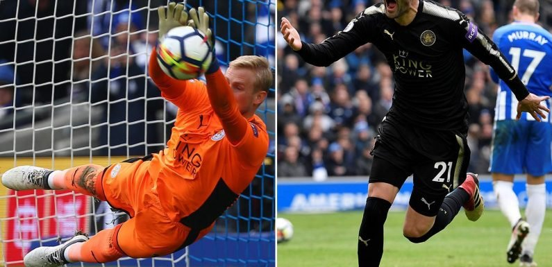 Brighton 0 Leicester 2: Jamie Vardy and Vicente Iborra score late goals as Kasper Schmeichel saves Glenn Murray penalty