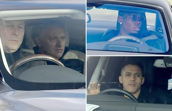 Manchester United stars including Paul Pogba arrive for training as Jose Mourinho plans crisis talks with squad to prevent season from sliding