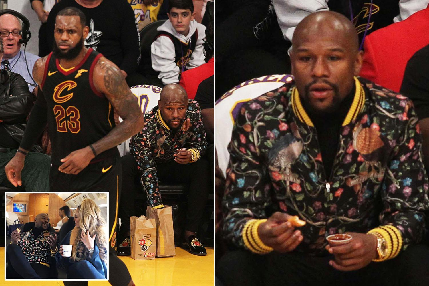 Floyd Mayweather tucks into chicken nuggets at NBA before boxing legend jets home with glamorous girlfriend