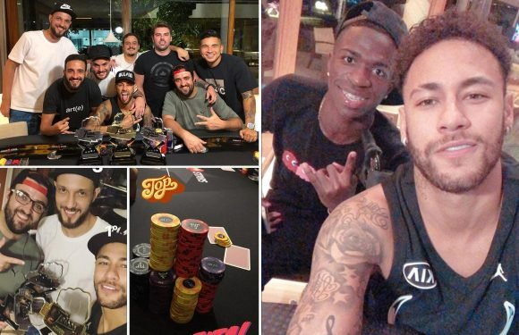 Neymar posts Instagram picture of himself playing poker with fellow Brazilian Vinicius Jnr as he recovers from foot surgery