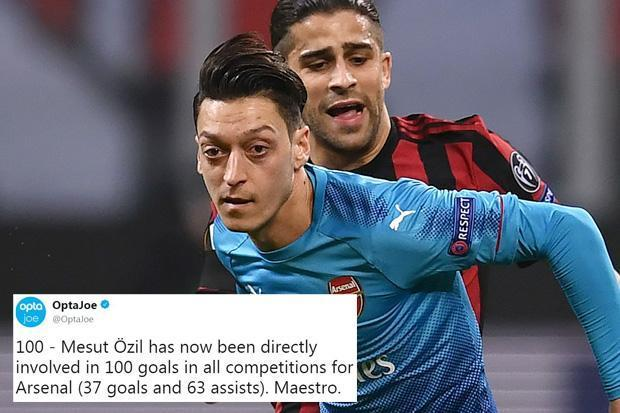 Mesut Ozil involved in 100 Arsenal goals after two more assists in Europa League tie against AC Milan