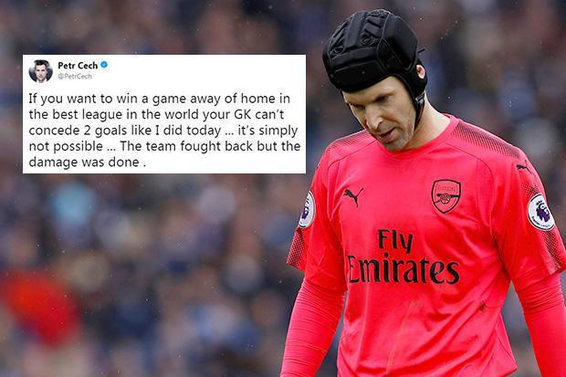 Arsenal keeper Petr Cech apologises to fans and admits the blame lies in his hands after defeat to Brighton