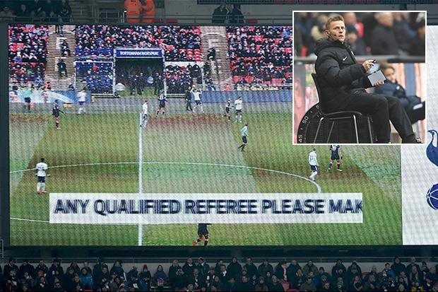 Tottenham vs Huddersfield: Wembley tannoy asks CROWD for a qualified referee to step forward after Mike Jones injures himself in warm-up