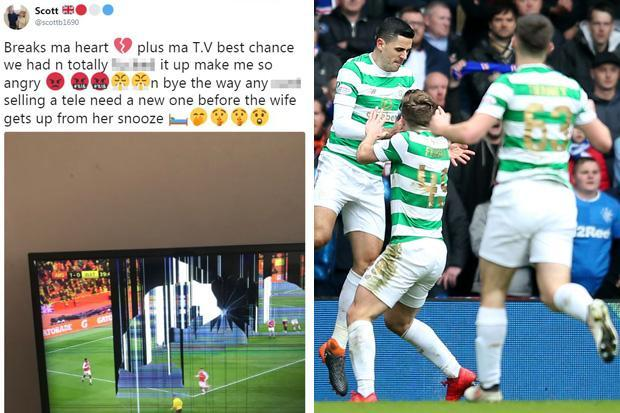 Rangers fan destroys television after 10-man Celtic win derby with late comeback